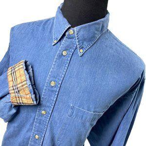 Burberry London Blue Nova Button Up Shirt XXL Tall